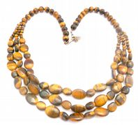 Sterling Silver Tigers Eye Triple Strand Swag Necklace.